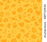 halloween seamless pattern with ... | Shutterstock . vector #489710920