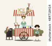 retro vector ice cream cart.... | Shutterstock .eps vector #489718414