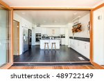 kitchen opens to patio  large... | Shutterstock . vector #489722149