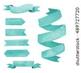 set of blue watercolor ribbons... | Shutterstock . vector #489727720