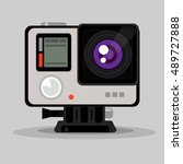 camcorder. simple vector flat... | Shutterstock .eps vector #489727888