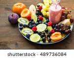 homemade fruit smoothie on a ... | Shutterstock . vector #489736084