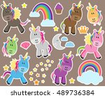cute vector collection of... | Shutterstock .eps vector #489736384