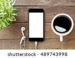 smartphone white screen on... | Shutterstock . vector #489743998