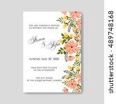 romantic pink peony bouquet... | Shutterstock .eps vector #489748168