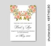 romantic pink peony bouquet... | Shutterstock .eps vector #489748180