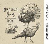roasted turkey   vector...   Shutterstock .eps vector #489752560