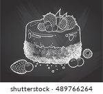 sweet little cake with... | Shutterstock .eps vector #489766264