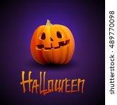 halloween pumpkin carved... | Shutterstock .eps vector #489770098