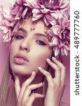 beautiful woman with flower... | Shutterstock . vector #489777760