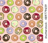 cute donut vector background... | Shutterstock .eps vector #489779659