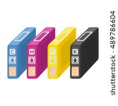ink cartridges in cartoon style ... | Shutterstock .eps vector #489786604