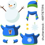 cute paper doll with winter... | Shutterstock .eps vector #489787594