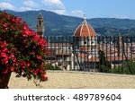 beautiful view of florence. red ... | Shutterstock . vector #489789604