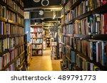 national library  bookshelves ... | Shutterstock . vector #489791773