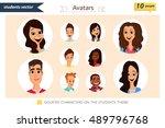 set of diverse student avatars. ...   Shutterstock .eps vector #489796768