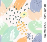 orange scribble with flower... | Shutterstock .eps vector #489813418