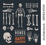 halloween. set of cartoon... | Shutterstock .eps vector #489814534