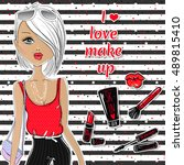 fashion and cute vector girl. i ... | Shutterstock .eps vector #489815410