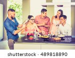group of friends having fun at... | Shutterstock . vector #489818890