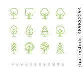linear tree logo  icon and... | Shutterstock .eps vector #489832294