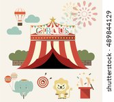 set of country fair amusement... | Shutterstock .eps vector #489844129