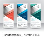 roll up banner stand template... | Shutterstock .eps vector #489846418