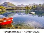 read boat on summer morning... | Shutterstock . vector #489849028