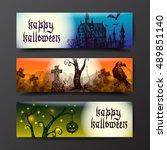 happy halloween banners.... | Shutterstock .eps vector #489851140