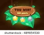 cartoon wooden game panel with...