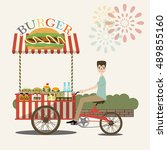 burger street cart with seller. ... | Shutterstock .eps vector #489855160