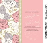 wedding invitation with floral... | Shutterstock .eps vector #489862804