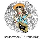 vacation  girl with a suitcase... | Shutterstock . vector #489864034