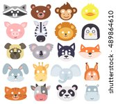 animals carnival mask vector... | Shutterstock .eps vector #489864610