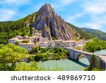 sisteron in provence   old town ... | Shutterstock . vector #489869710