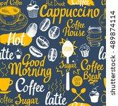 seamless coffee sketch...   Shutterstock .eps vector #489874114