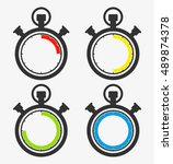 vector analog timer icon set... | Shutterstock .eps vector #489874378