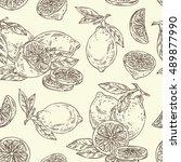 seamless with lemon . hand... | Shutterstock .eps vector #489877990