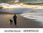 Woman And Dog Walk On Beach