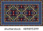 colorful mosaic rug with... | Shutterstock .eps vector #489895399
