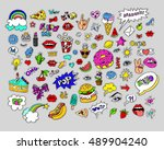 sketch comics. fashion  patch... | Shutterstock .eps vector #489904240