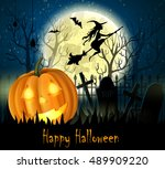 halloween spooky background | Shutterstock .eps vector #489909220