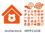 police office icon with bonus... | Shutterstock .eps vector #489911638