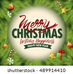 christmas greeting card. merry... | Shutterstock .eps vector #489914410