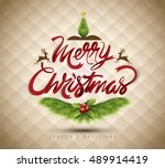 christmas greeting card. merry... | Shutterstock .eps vector #489914419