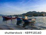 beautiful beach landscape with... | Shutterstock . vector #489918160