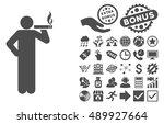 smoking man icon with bonus... | Shutterstock .eps vector #489927664