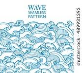waves seamless border pattern.... | Shutterstock .eps vector #489931393