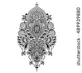 indian floral paisley medallion ... | Shutterstock .eps vector #489939880