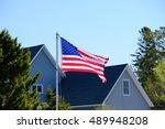 American Flag At Suburban...